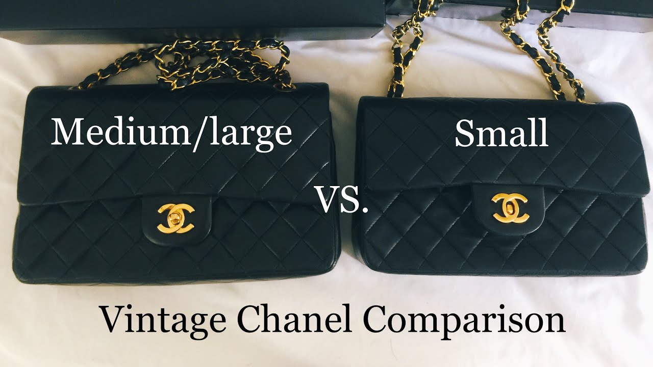 Vintage Chanel Comparison  Small vs Medium Large Classic Flaps - What Fits  Inside 6eb886789f5fa