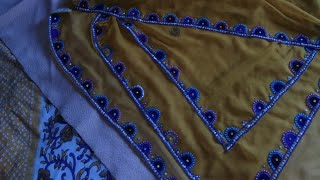Mirror and stone work apply on dupatta at home!! Beautiful mirror work!!
