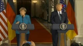 Primer encuentro oficial entre Trump y Merkel