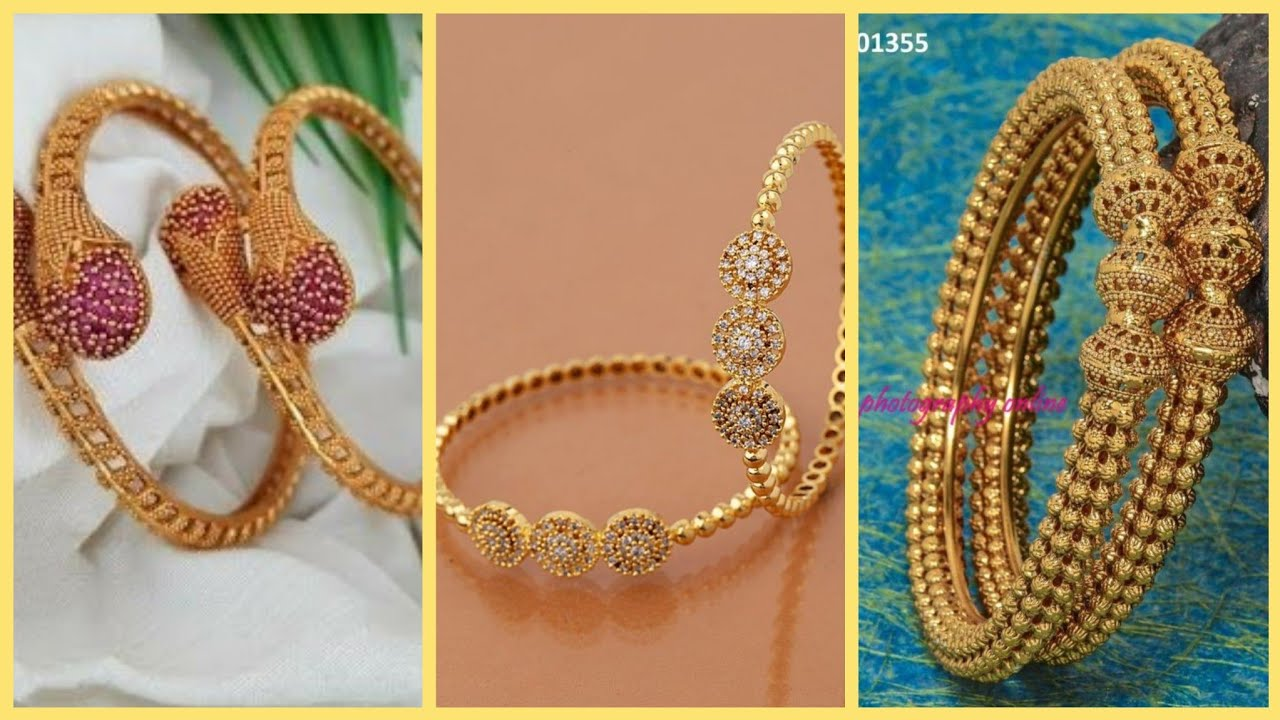 latest unique light weight gold bangles Designs 2021,New Gold collection