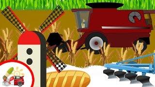 Откуда берется хлеб? Раскрашки-анимашки. Мультфильм про трактор и комбайн. Наше_всё!