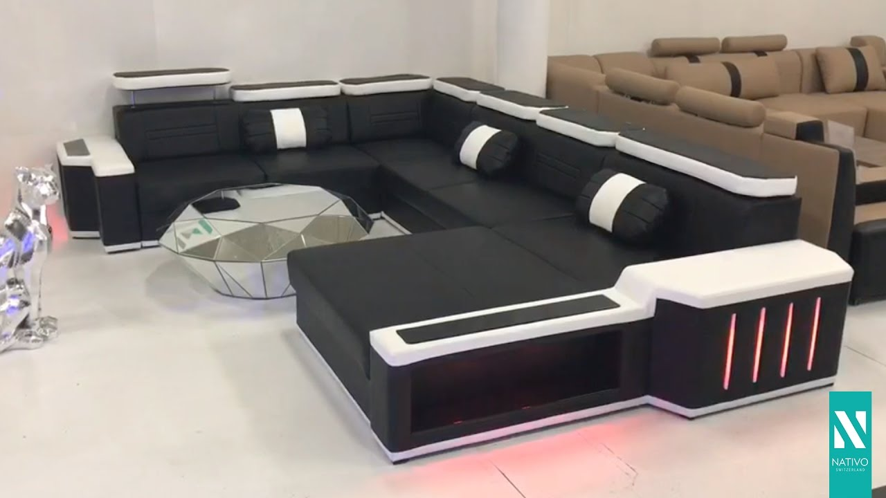 nativo m bel schweiz designer sofa cesaro xxl mit led beleuchtung youtube. Black Bedroom Furniture Sets. Home Design Ideas