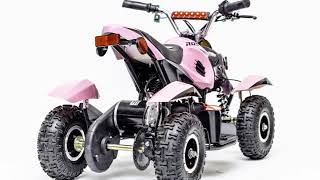 Rosso Motors Kids ATV Kids Quad 4 Wheeler Ride On with Battery Electric Power Lights in Pink Motorcy