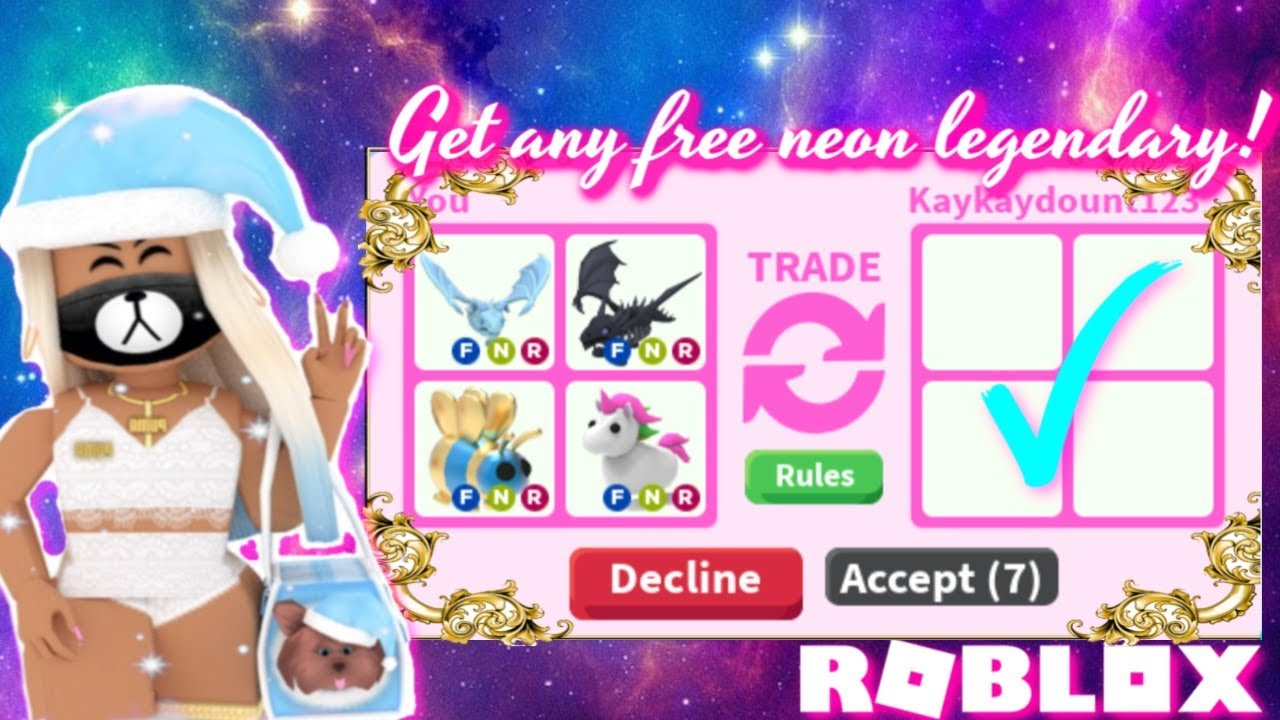 How To Get Any Free Neon Legendary Pet Trading In Adopt Me Youtube