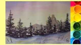 Рисуем Горный пейзаж с елочками ГУАШЬЮ [Картина за 3 минуты!]