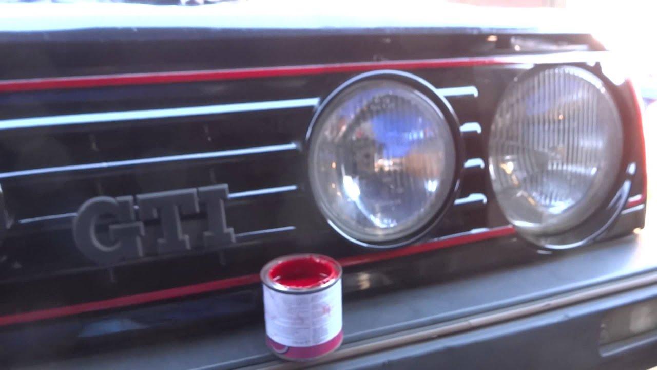 vw golf gti paint red stripe on front grill volkswagen. Black Bedroom Furniture Sets. Home Design Ideas