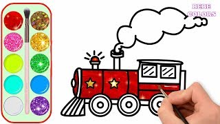 Glitter Cartoon Train Drawing and Coloring for Kids Learn Colors | Art Colors for Children