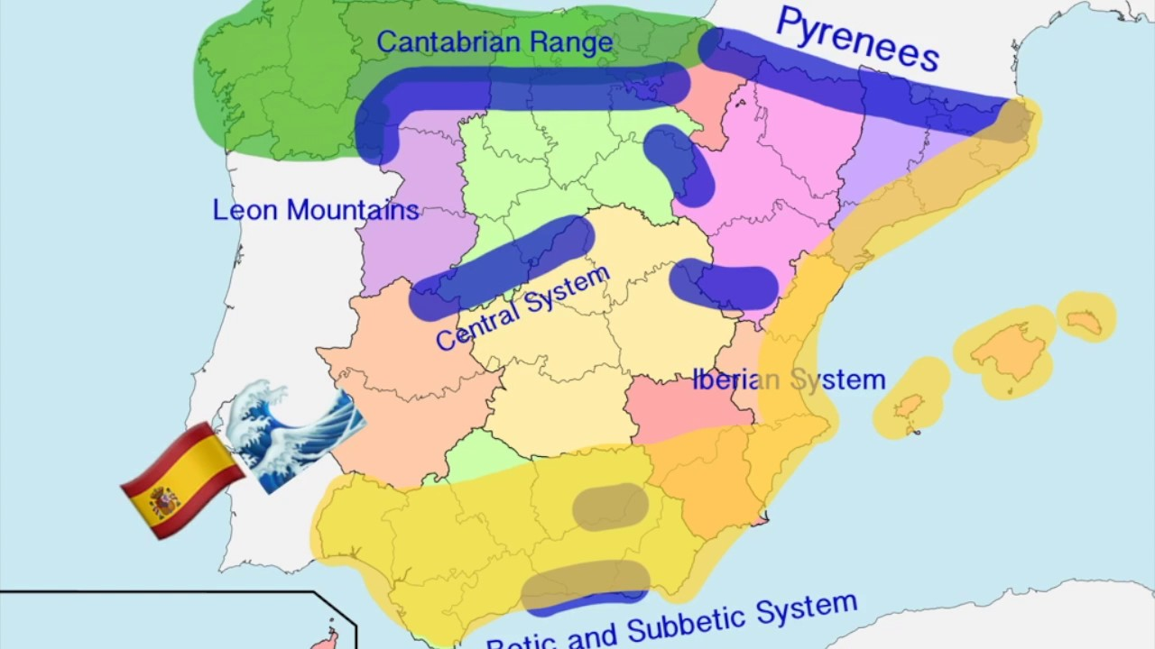 Map Of Spain With Mountains.The 5 Climates In Spain Explanation And Pictures Youtube