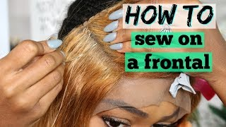 How to Sew on a Lace Frontal | No Hair Out | DIY Sew-in Detailed for Beginners | Lonqi Hair