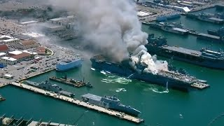 Massive fire on US navy ship in San Diego following explosion