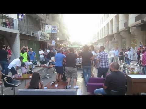 Beirut street daytime party, Hamra, Lebanon