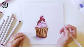 Онлайн урок   'Иллюстрация маркерами   Капкейк'