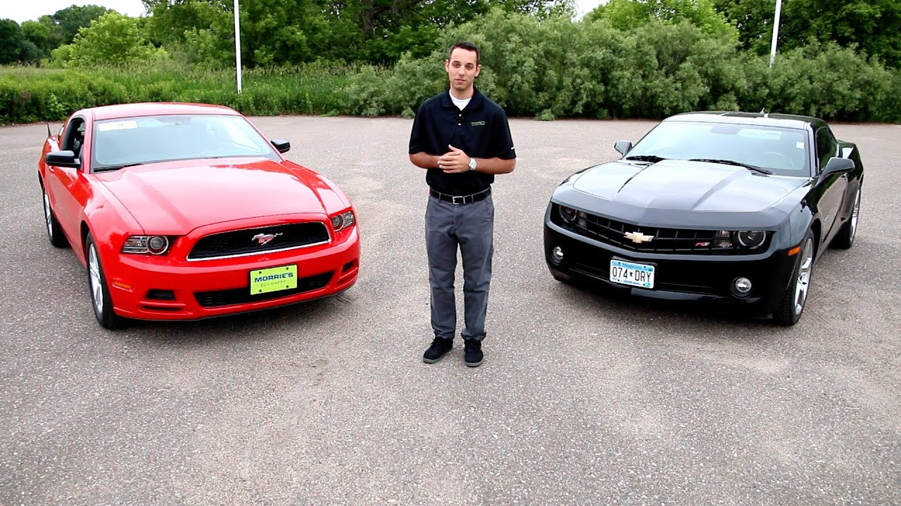 Chevy Camaro RS vs  2014 Ford Mustang V6 - Head 2 Head | Morrie's  Minnetonka Ford