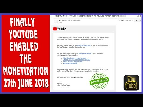 Finally Youtube  Enabled The Monetization 27th June 2018