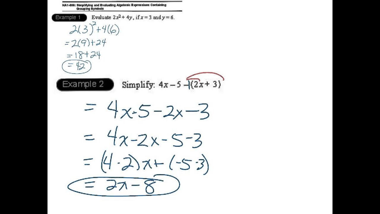 worksheet Simplifying Algebraic Expressions ha1 80 simplifying evaluating algebraic expressions containing grouping symbols