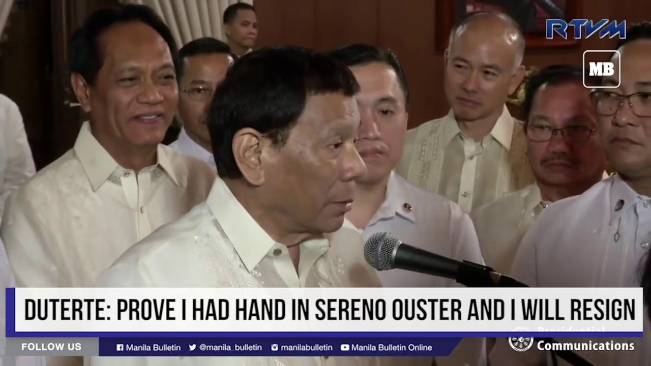 Duterte: Prove I had hand in Sereno ouster and I will resign