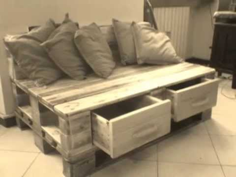 Divano in pallets con cassettoni frontali youtube for Divano con pallet