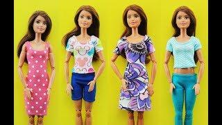 DIY Barbie Clothes Outfits Dress - Barbie Hacks - T Shirt, Shorts, Dress