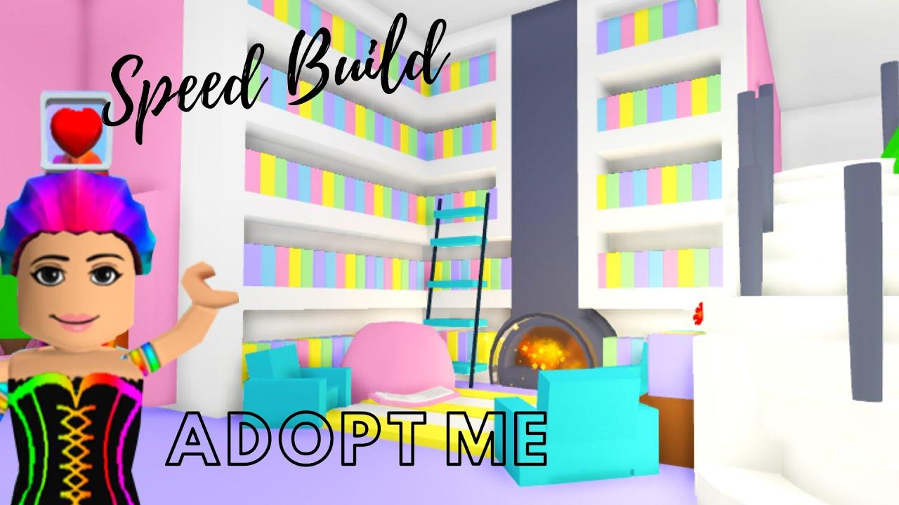 Adopt Me Speed Build   Adopt Me Tree House Living Room   Adopt Me Library (Adopt Me Building Hacks) - YouTube
