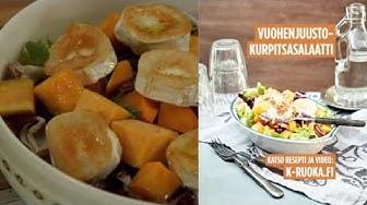 Vuohenjuusto-kurpitsasalaatti ja korvapuustipirtelö