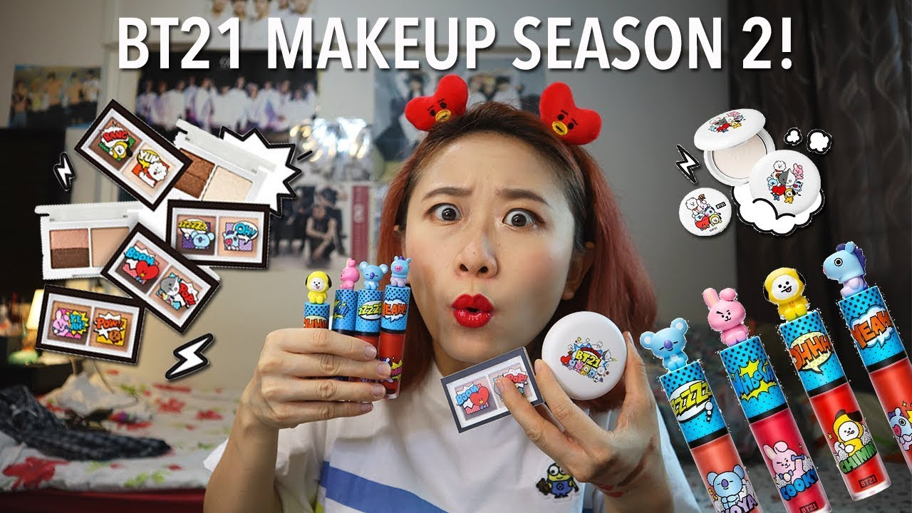 Trying BTS Makeup Season 2! BT21 X VT Cosmetics First impressions  [Charissahoo]