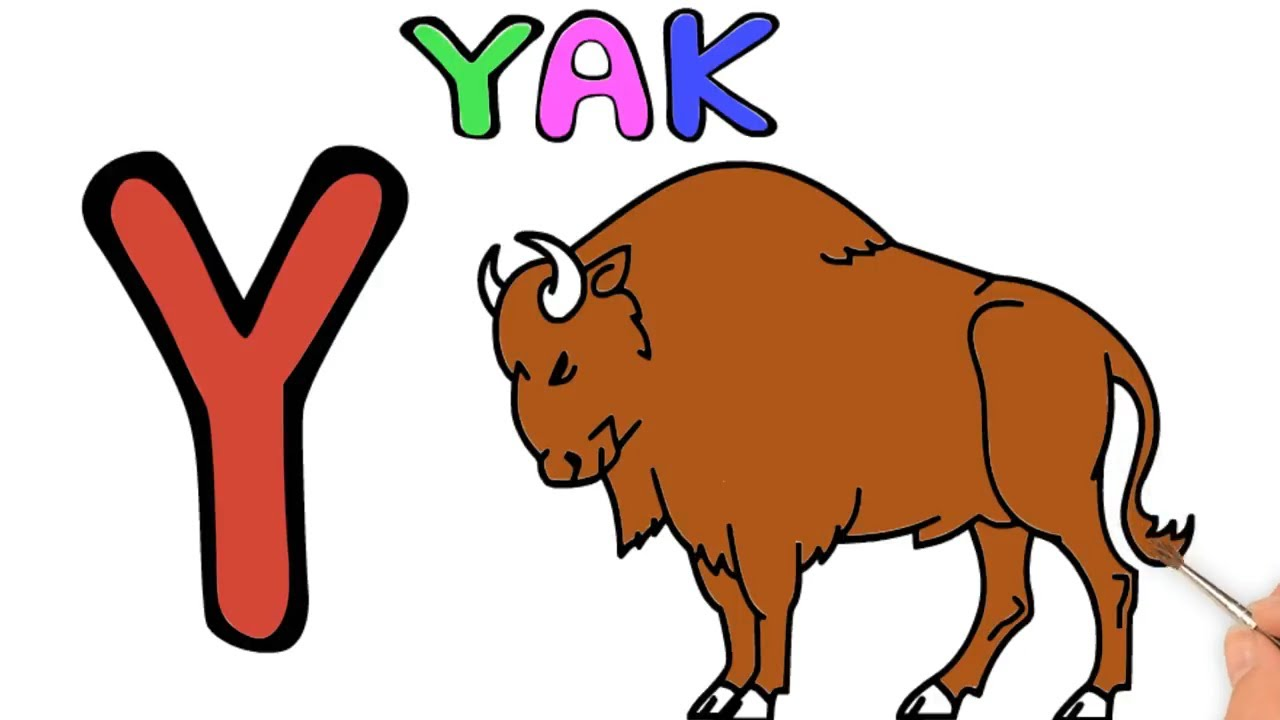 How to draw a yak for kids wild animal coloring pages learn colors with alphabets