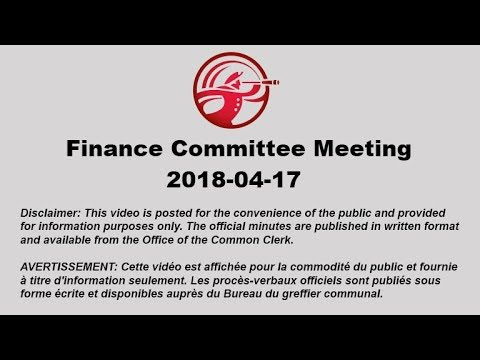 The City of Saint John - Finance Committee Meeting 2018-04-17