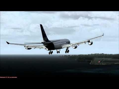 Airbus A340-300 landing at American Samoa
