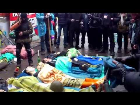 The Maidan uprising in Kyiv is crying in mourning over the around 100 shot dead by police forces