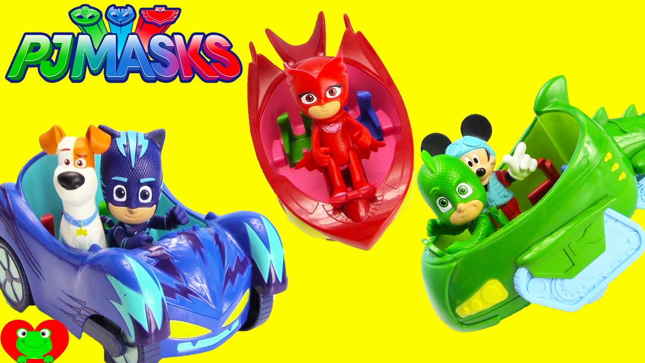 PJ Masks Vehicle /& Figure Playset Catboy Car Owlette Gekko Mobile