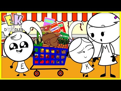 Helping Mommy Buy Healthy Food at the Grocery Store for Thanksgiving with EK Doodles ! thumbnail