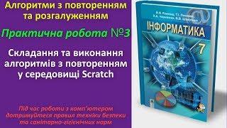 Практична робота № 3. Складання та виконання алгоритмів з повторенням в Scratch | 7 клас | Ривкінд