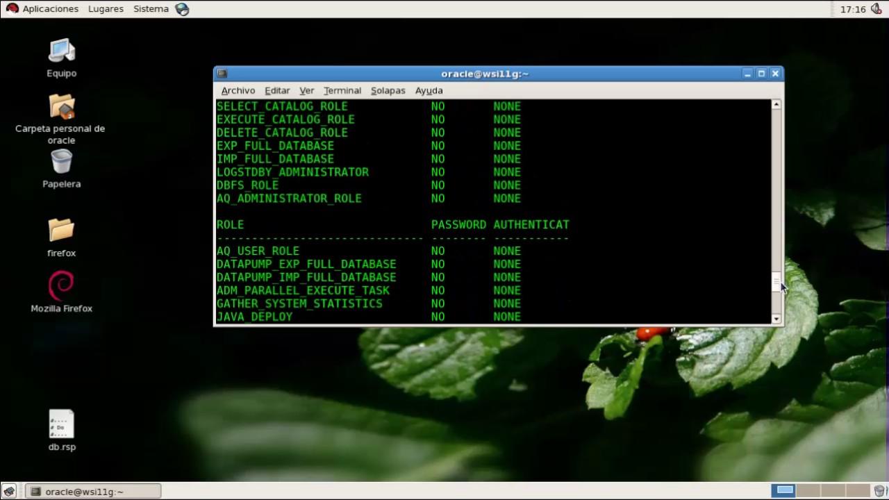 Gestión de usuarios, roles y privilegios en Oracle 11G - SQLPLUS
