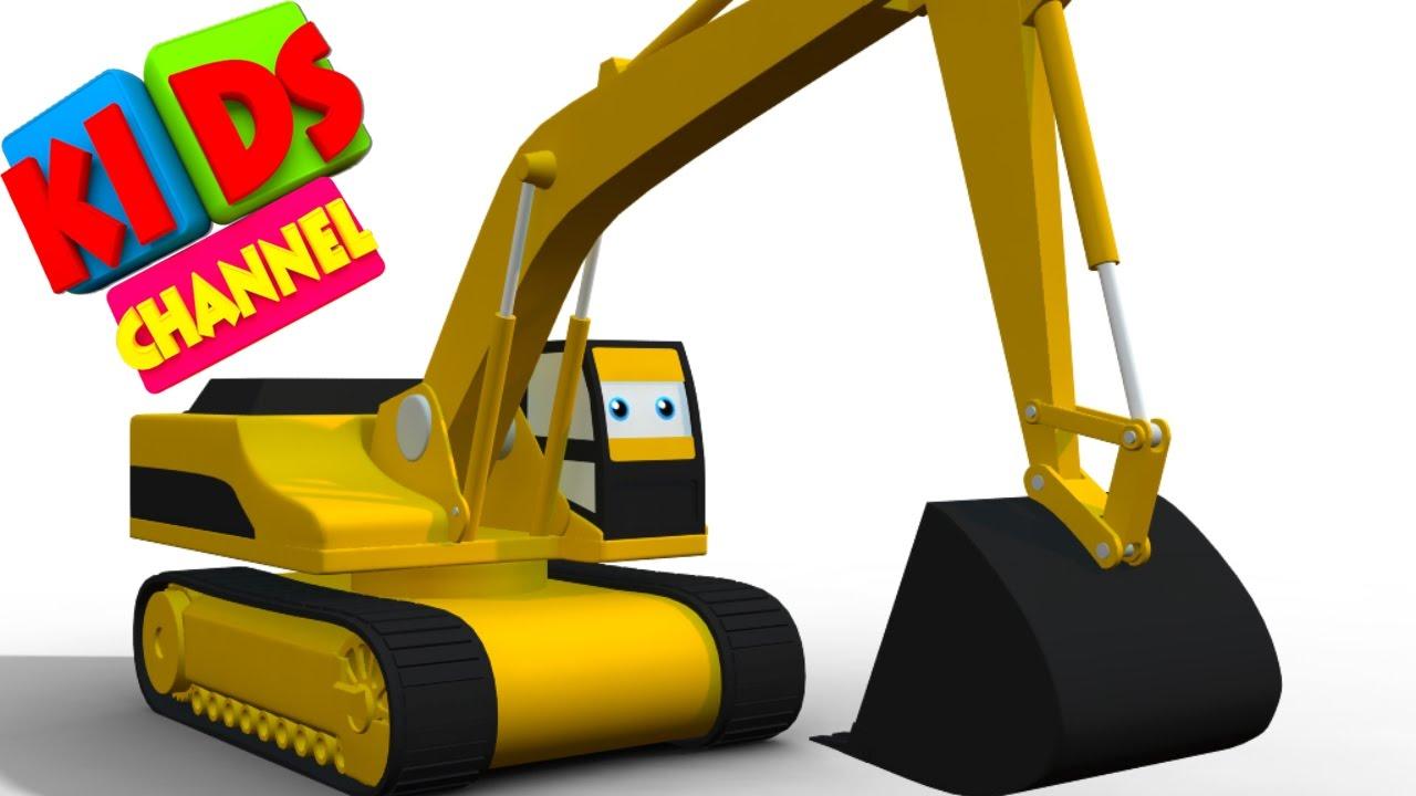 Digger | cartoon vehicles | 3D videos for kids | cartoon ...