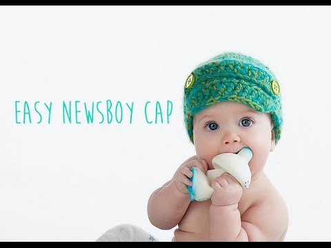 Free Crochet Pattern Toddler Newsboy Cap : CROCHET TUTORIAL - NEWSBOY CAP - YouTube