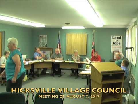 Hicksville Village Council Meeting 8-7-17