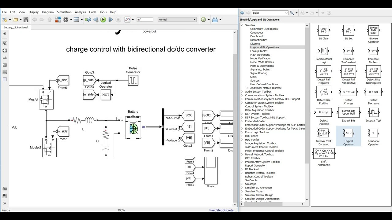 Battery control with bidirectional DC/DC converter in MATLAB