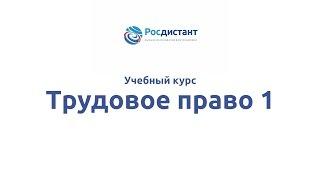"""Вводная видеолекция к курсу """"Трудовое право 1"""""""