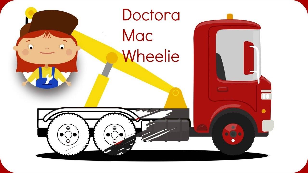 Vamos a colorear una grúa con Doctora McWheelie! Dibujo animado ...