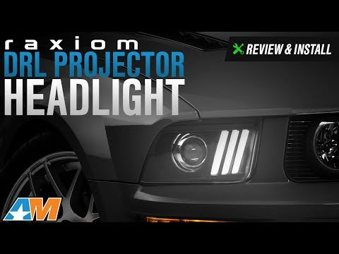 2005-2009 Mustang GT, V6 Raxiom DRL Projector Headlight - Black Review & Install