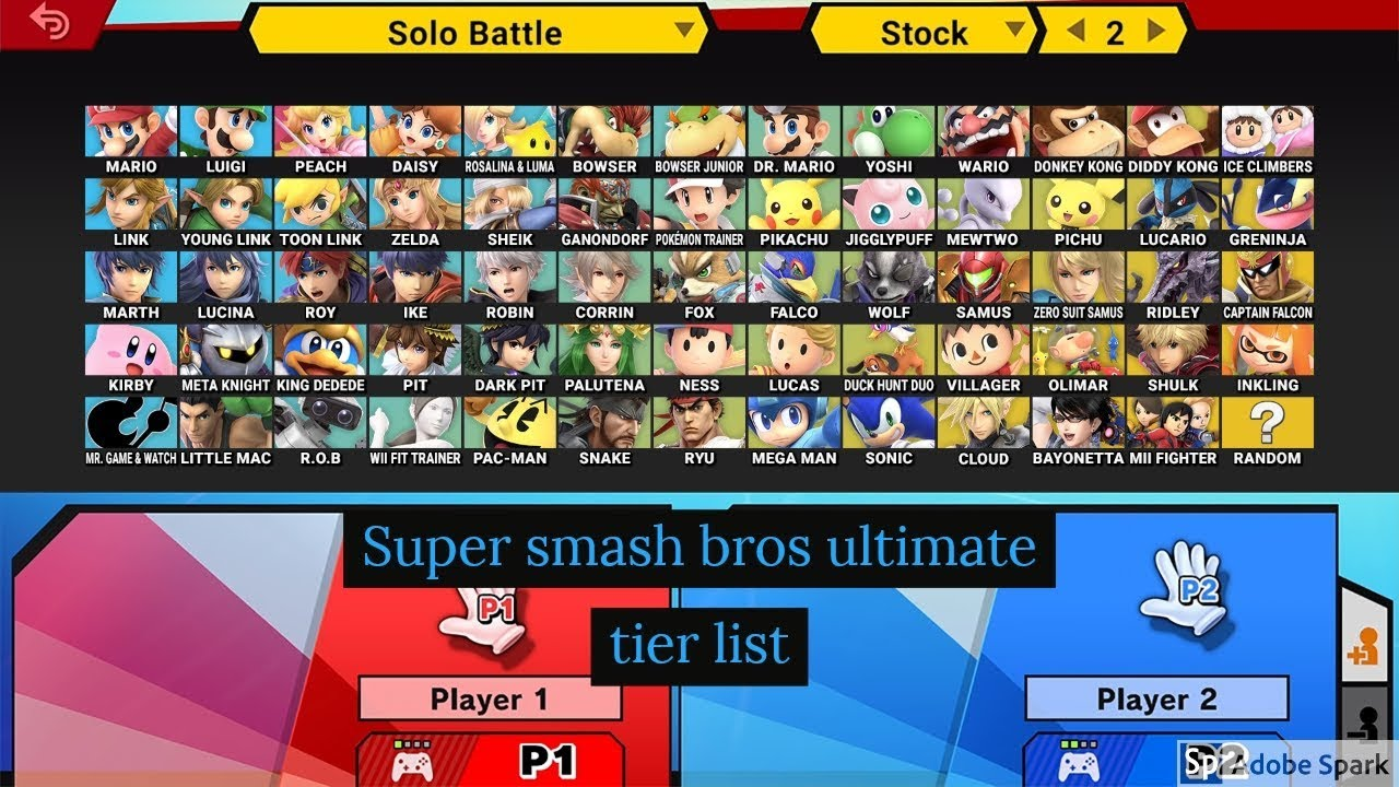 Super smash bros ultimate, my tier list