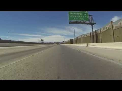 Driving through Henderson to Downtown Las Vegas past the El Cortez, Fremont Street, GP043873