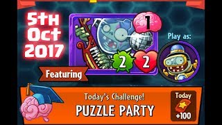 Plants vs Zombies (PVZ) Heroes - Daily Challenge - Puzzle Party - 5th October 2017 (5-10-17) thumbnail
