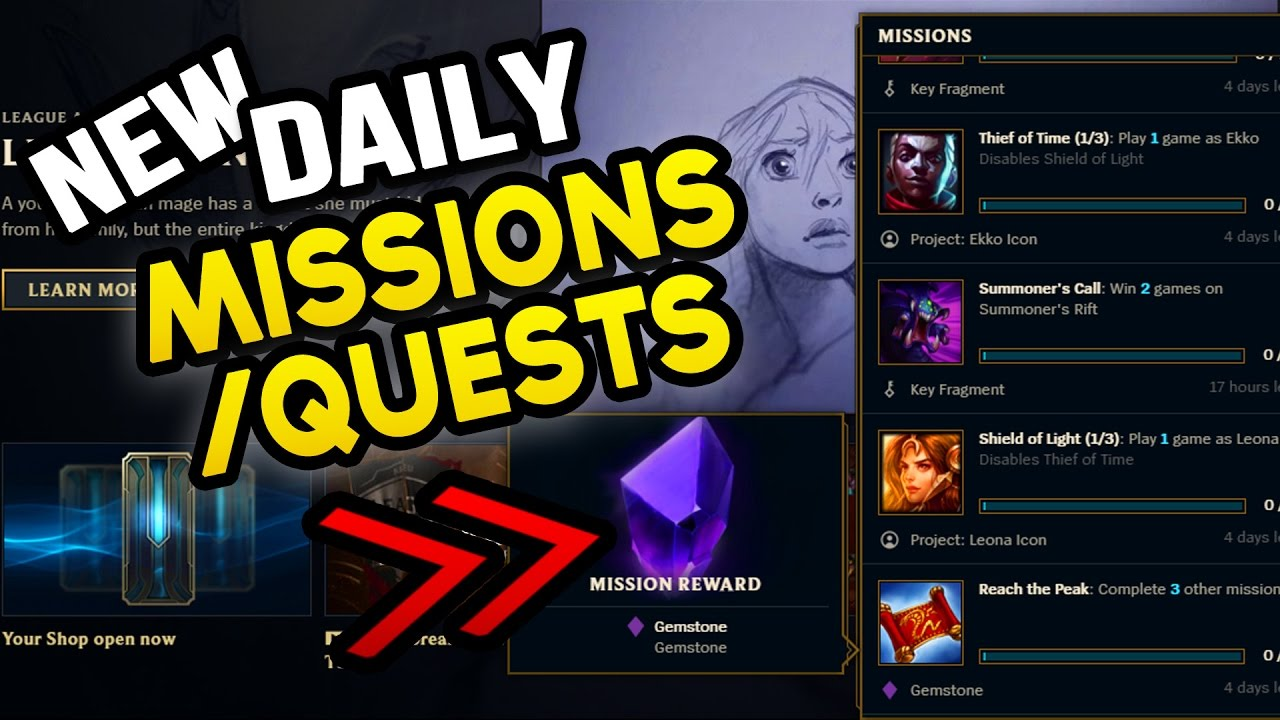 NEW DAILY MISSIONS QUESTS FREE GEMSTONES League News