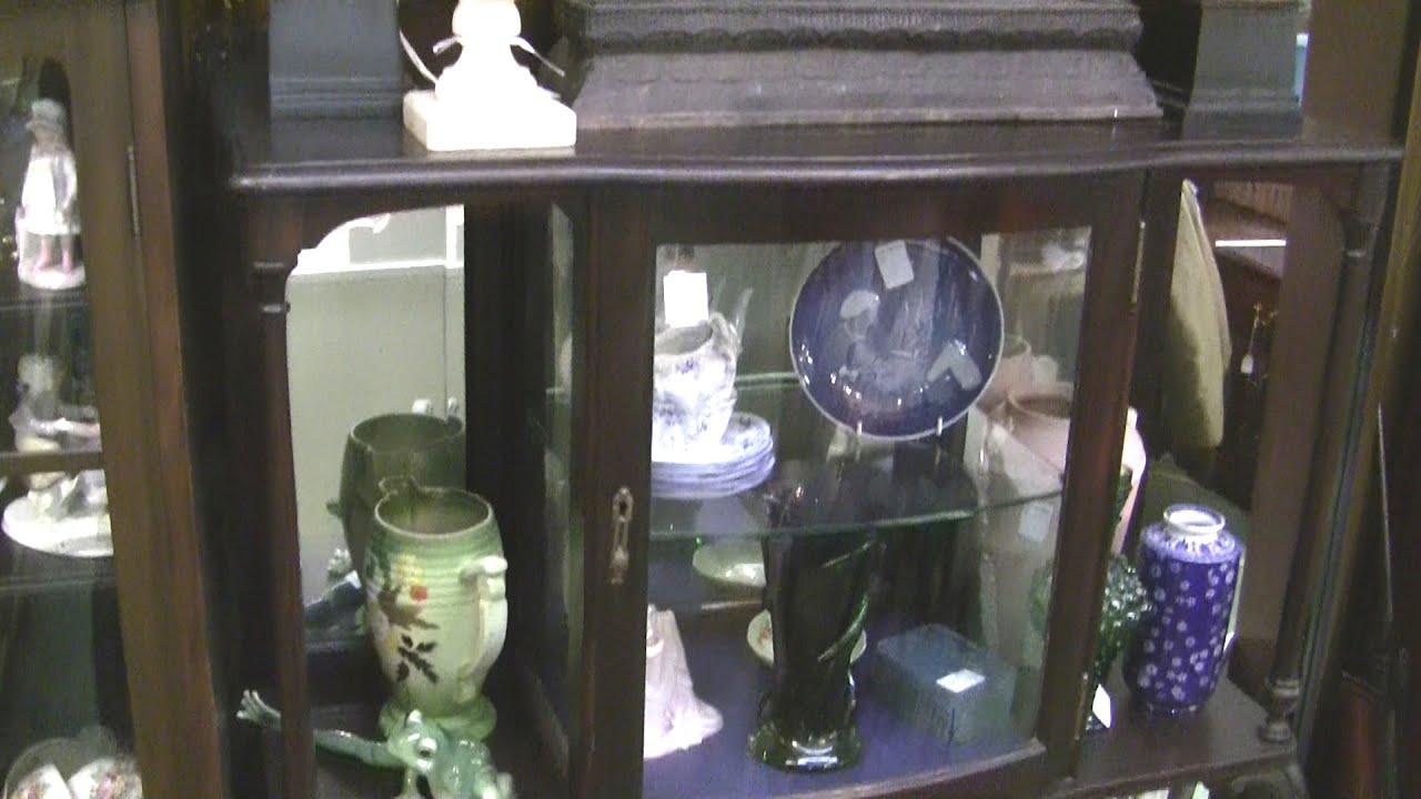 Solid Mahogany Antique Display Cabinet Bookshelf Curio