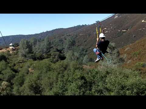 Zip Line 2nd run at Moaning Cavern in Angels Camp, CA