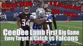 CeeDee Lamb First Big Game - Every Target, Catch and Carry - Cowboys vs Falcons 9/20/20