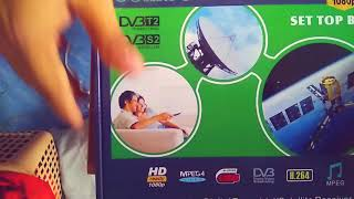 DVB-T2+S2 Video Broadcasting Satellite Receiver Set-up Box TV HDTV unboxing