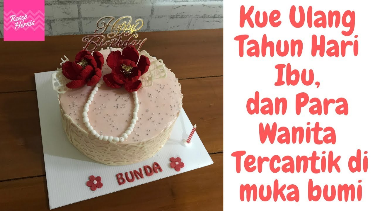 Kue Ulang Tahun Hari Ibu Simple Necklace Cake Decorated