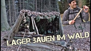 Bushcraft Survival Lager, Lean to Shelter bauen, Outdoor Abenteuer Wildnis (4K)